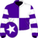 Purple and white (quartered), hooped sleeves, purple cap, white star