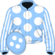 Light blue, white spots, striped sleeves and spots on cap