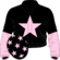 Black, pink star, halved sleeves and stars on cap