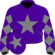 Purple, grey star, grey sleeves, purple diamonds, purple cap, grey star