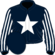 Dark blue, white star, striped sleeves
