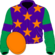 Purple, orange stars, emerald green sleeves, purple armlets, orange cap