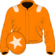 Orange, beige epaulets and star on cap