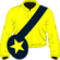 Yellow, dark blue sash, dark blue cap, yellow star