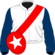 White, red sash, dark blue sleeves, red cap, white star